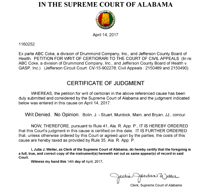 BREAKING NEWS: Alabama Supreme Court Rules in Favor of Gasp